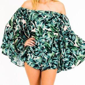 Pants - Green tropical romper